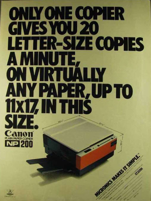 Canon NP 200 advertisment