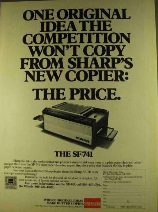Sharp 741 advertisment