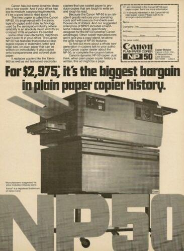 Canon NP 50 Copier Ad